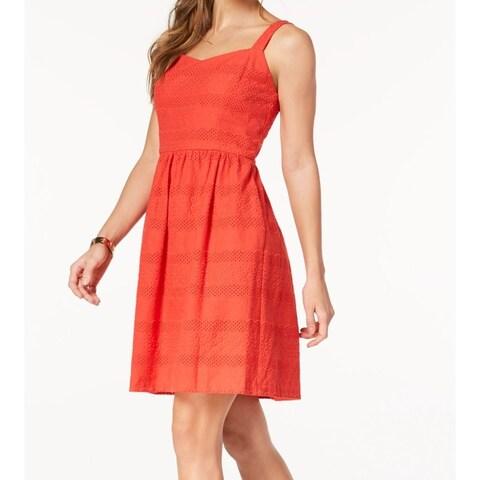 Nine West Red Women's Size 16 Floral Eyelet Knit Sheath Dress