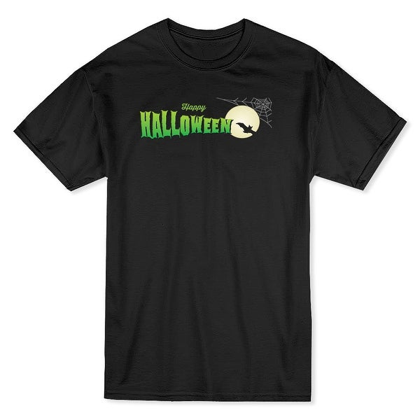 9f438145 Shop Happy Halloween Flying Bat, Spider Web And Autum Moon Men's Black T- shirt - Free Shipping On Orders Over $45 - Overstock - 17765001