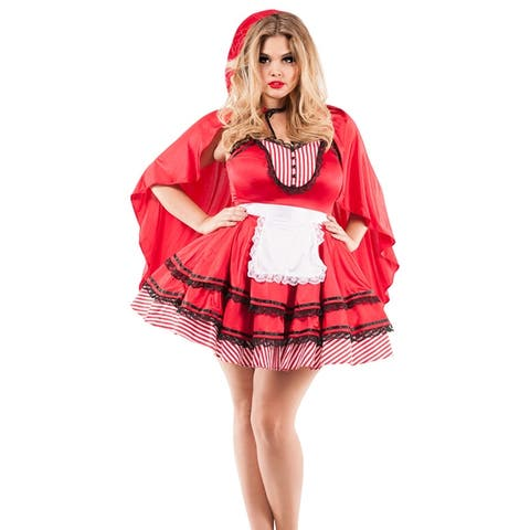 Plus Size Red Hooded Babe Costume