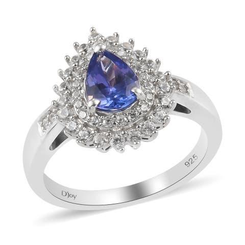 Shop LC 925 Silver Blue Tanzanite Zircon Halo Bridal Ring Ct 1.3