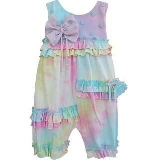Isobella & Chloe Baby Girls Aqua Tie Dye Just Groovy Ruffled Romper 3M-24M