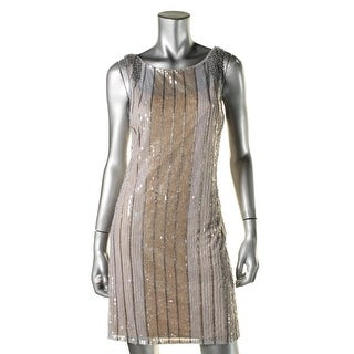 Aidan Mattox Womens Sequined Party Cocktail Dress
