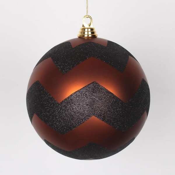 "Copper Matte with Black Glitter Chevron Christmas Ball Ornament 8"" (200mm) - ORANGE"