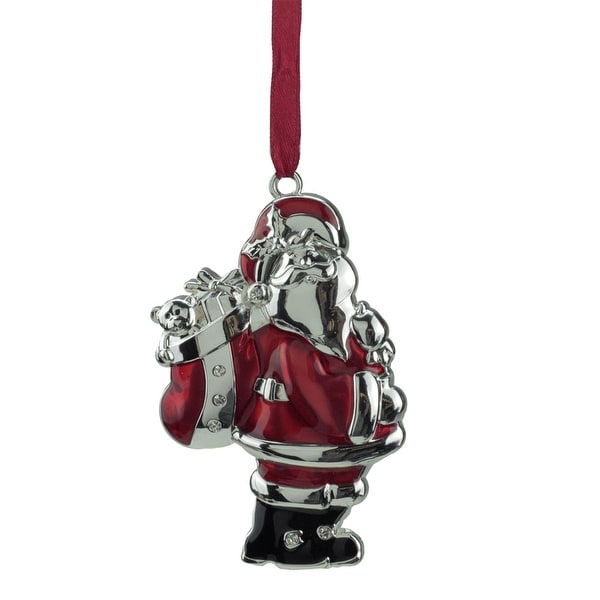 """3.25"""" Regal Shiny Silver and Red Plated Santa Claus Ornament with European Crystals"""