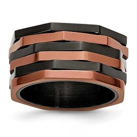 Chisel Stainless Steel Black & Chocolate IP-plated Ring (12 mm)