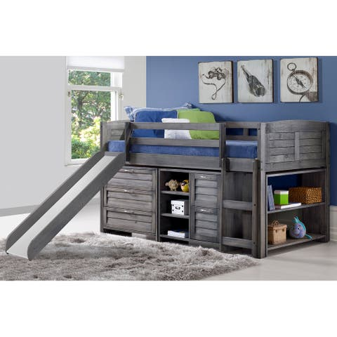 Twin Louver Low Loft with Slide, 3 Drawer Chest, 2 Drawer Chest and Shelves, and Bookcase in Antique Grey