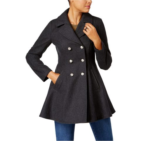 Laundry Womens Double-Breasted Pea Coat, Grey, X-Small