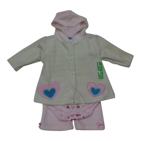 Bon BeBe Baby Girls Off-White Heart Print Applique Top Bodysuit Pants Outfit