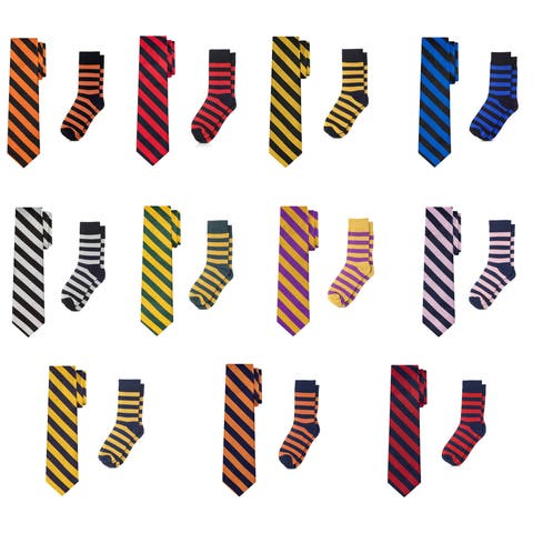 Jacob Alexander Matching College Stripe Dress Socks and Tie