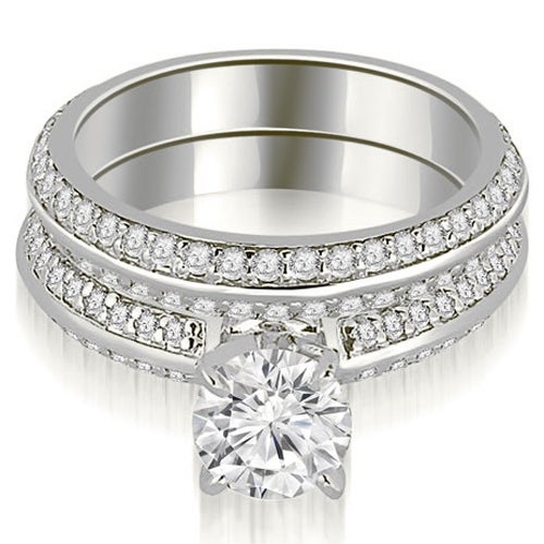 1.45 cttw. 14K White Gold Knife Edge Matching Round Cut Diamond Bridal Set