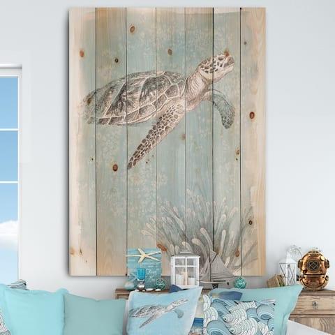 Designart 'Coastal Sea Life I Turtle sketches' Nautical & Coastal Print on Natural Pine Wood - Grey