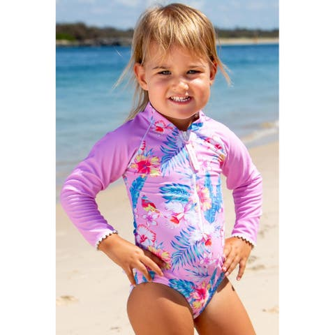 Sun Emporium Paradise Print Long Sleeve Swimsuit Baby Girls