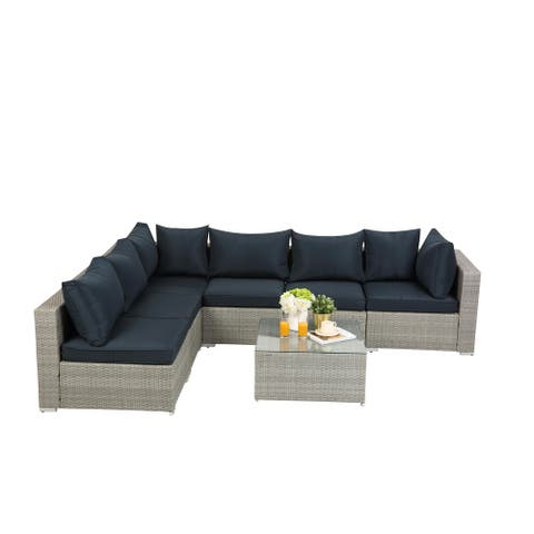 7-Piece PE Rattan Wicker Sectional Cushioned Outdoor Garden Sofa Sets