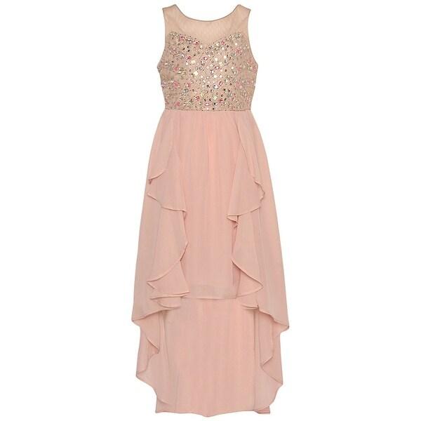 2413c67b3560 Shop Tween Diva Girls Blush Bejeweled Hi-Low Overlaid Christmas Dress -  Free Shipping Today - Overstock - 19292737