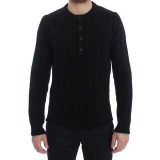 Dolce & Gabbana Dolce & Gabbana Black Henley Knitted Cashmere Sweater