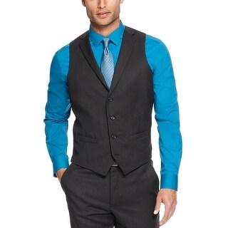 Alfani Slim Fit Lapel Vest Black 42 Long 42L Tonal Striped Wool Red Label