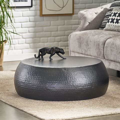 "Portage Modern Handcrafted Hammered Aluminum Drum Coffee Table by Christopher Knight Home - 34.50"" L x 34.50"" W x 12.00"" H"