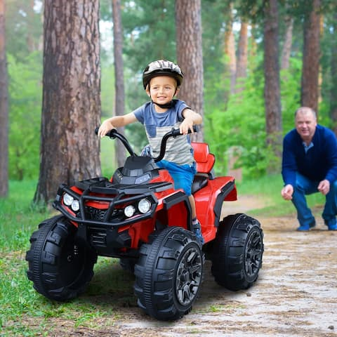 Aosom Kids Ride-on Four Wheeler ATV Car with Real Working Headlights, Music/Radio Player, & Smooth Suspension