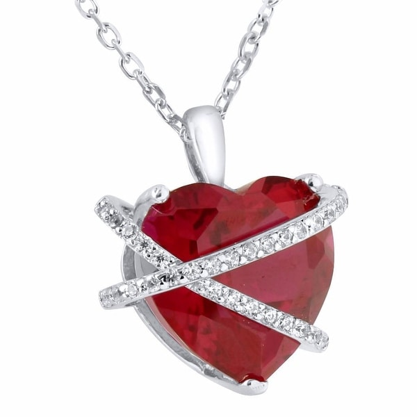 """Red Ruby Heart Pendant Solitaire Sterling Silver Simulated Diamonds 17"""" Necklace"""