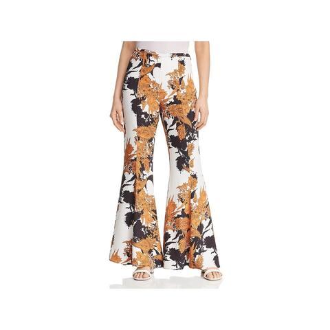 Kobi Halperin Womens Fiora Flared Pants Floral High Waist - Black Multi