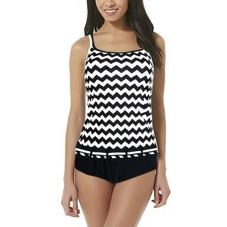Women Tankini Set Two Pieces Swimsuits Zigzag Bathing Suits Triangle Brief US 8 - us 8