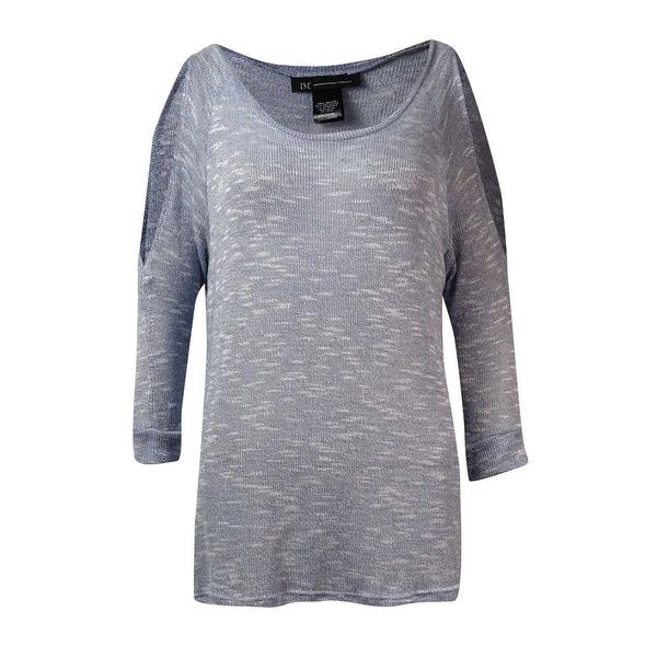 INC International Concepts Women's Cold-Shoulder Sweater - Dusty Stone Blue - M