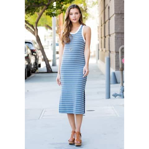 RIAH FASHION Women's Cut Out Back Striped Sleeveless Dress