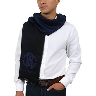 Roberto Cavalli ESZ055 04500 Blue Wool Blend Ombre Mens Scarf - 40-180