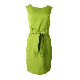 Ellen Tracy Womens Textured Sleeveless Wear to Work Dress - 16