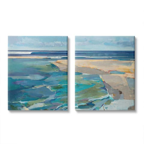 Stupell Industries Pastel Blue Seascape with Rocky Coast Painting Canvas Wall Art - Beige