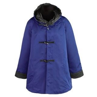 Women's Satin Reversible Raincoat - Hooded