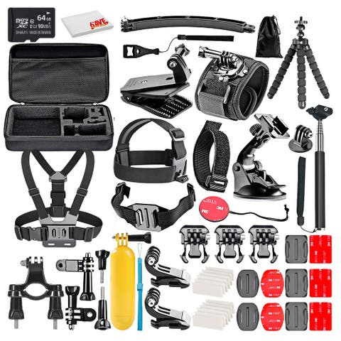 50-In-1 Action Camera Accessory Kit With - 64GB MICRO SD CARD