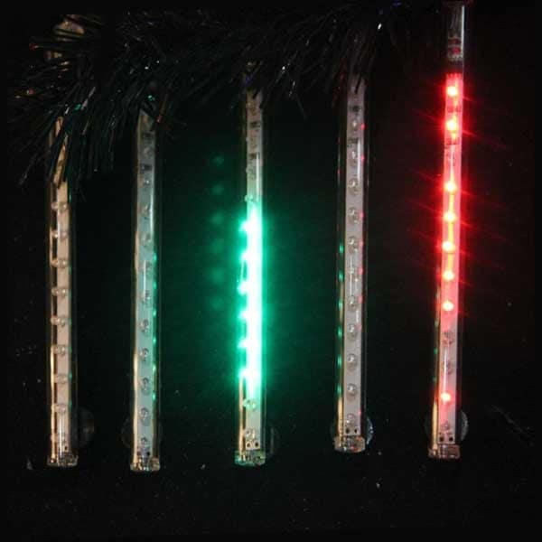 "Snowfall - Set of 5 Double-Sided 33.5"" LED Christmas Icicle Light Tubes - Multi"
