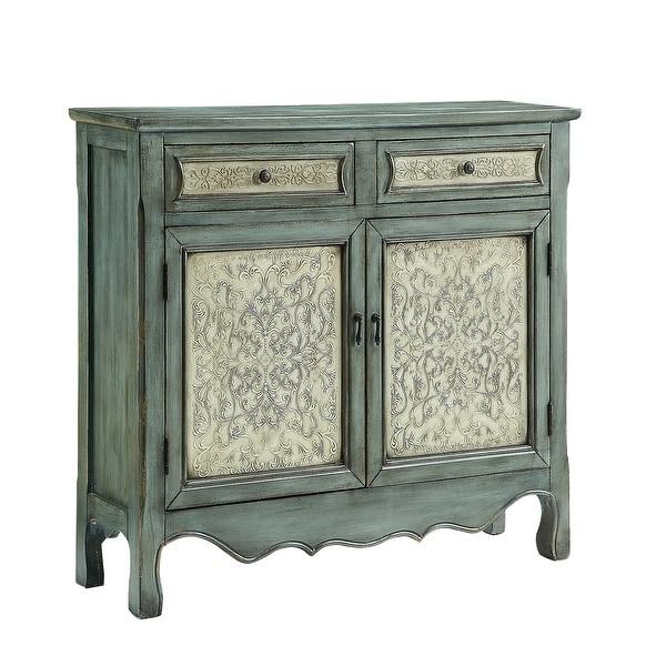 "Powell Home Fashions 14A2048 Slimline 41"" Wide 2 Drawer Storage Cabinet - Blue"
