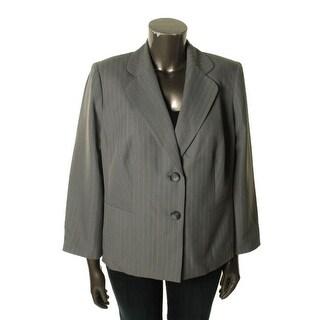 Le Suit Womens Plus Herringbone Long Sleeves Blazer - 16W