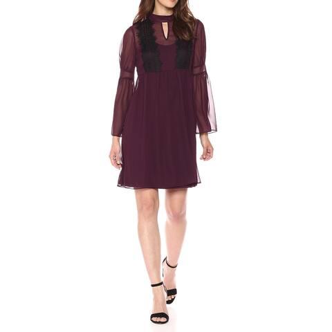 Jessica Simpson Plum Purple Womens Size 12 Chiffon Lace A-Line Dress