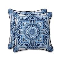 "18.5"" Blue and White Paisley Delight Decorative Outdoor Corded Throw Pillows"