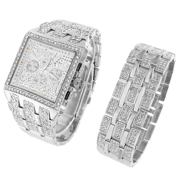 "Iced Out Square Face Watch Hip Hop Simulated Diamonds Mens 9.5"" Bracelet Unique"