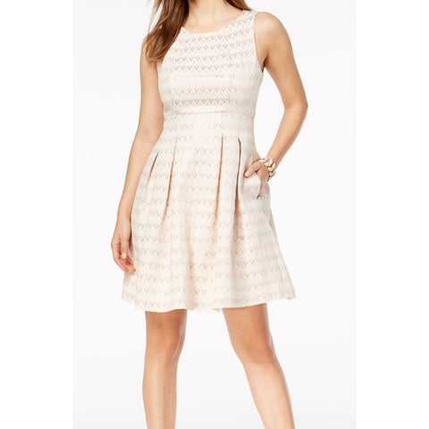 Vince Camuto Pink Jacquard Fit Flare Pleated 10 A-Line Dress