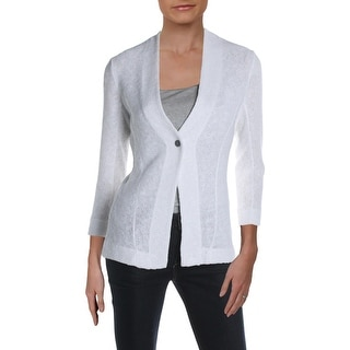 Link to Nic + Zoe Womens One-Button Blazer Textured Three-Quarter Sleeves - Paper White - XS Similar Items in Suits & Suit Separates