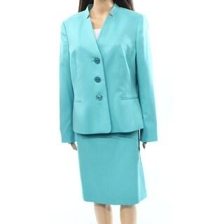 Le Suit NEW Blue Novelty Women's Size 14 3-Button Skirt Suit Set