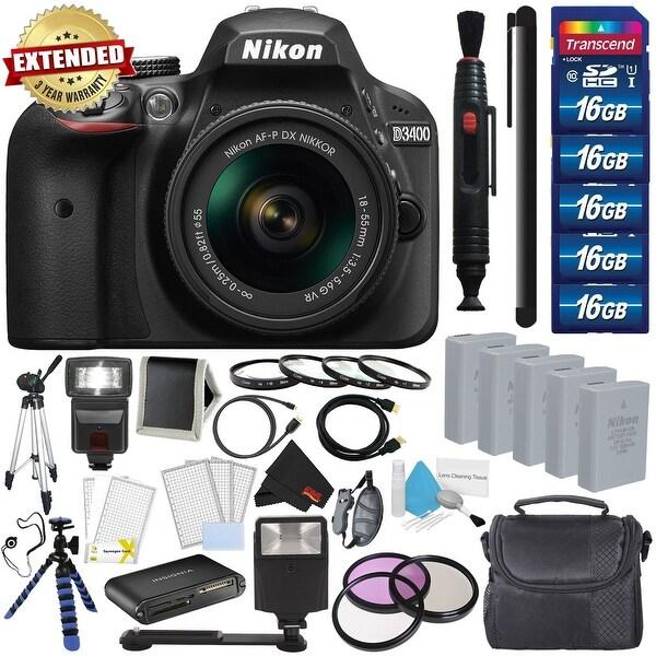 Nikon D3400 DSLR Camera with AF-P 18-55mm VR Lens (Black) 1571 International Model Mega Accessory Combo