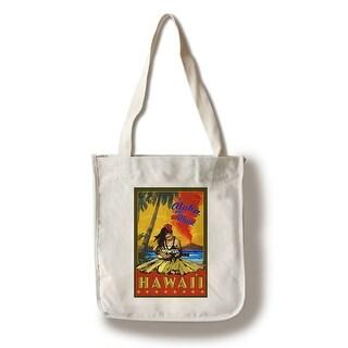 Maui, Hawaii - Hula Girl & Ukulele - LP Artwork (100% Canvas Tote Bag Gusset)