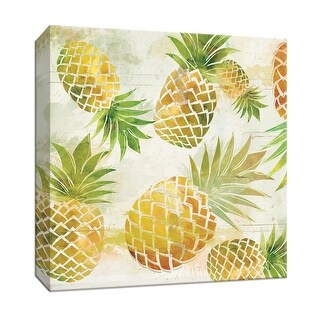 """PTM Images 9-147944  PTM Canvas Collection 12"""" x 12"""" - """"Pineapple Dance I"""" Giclee Fruits & Vegetables Art Print on Canvas"""