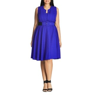 City Chic Womens Casual Dress Pleat-Front Belted