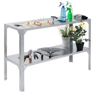 Costway Galvanized Steel Workbench Greenhouse Prepare Work Potting Table Storage Shelves - Sliver