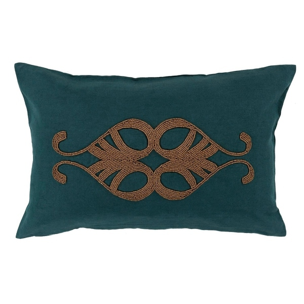 "13"" x 20"" Peacock Blue and Cocoa Brown Decorative Rectangular Throw Pillow"