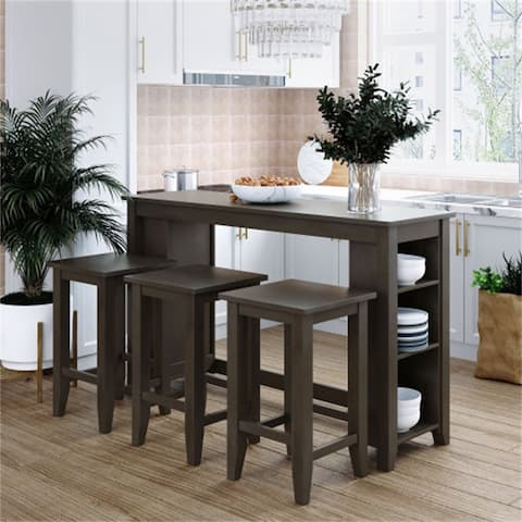 4-Pieces Rustic Farmhouse Counter Height Wood Kitchen Dining Set With Storage Shelves,3 Stools