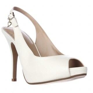 TS35 Camiila Sling-Back Peep-Toe Heels - White
