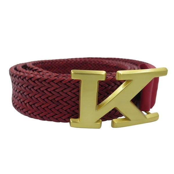 Kiton Men's Red Braided Leather Logo Belt